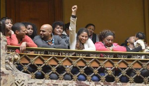 Afro Uruguayans bear witness to the senate's vote in favor of affirmative action.